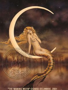 """The Waning Moon - by David Delamare.   Information and products available at www.daviddelamare... Artwork © David Delamare. Product design © Wendy Ice. Alteration of artwork strictly prohibited by law. Artist authorizes """"repin"""" of this image only if this caption is unchanged."""