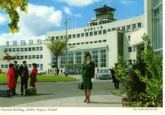 John Hinde postcard of Dublin Airport in the showing an Aer Lingus crew member in the centre foreground. Dublin Airport, Butlins, Art Deco Buildings, Land Art, Vintage Colors, Vintage Postcards, Old Photos, Seaside, Image Search