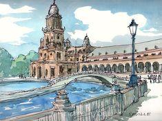 Seville Plaza de Espana Spain art print from an original watercolor painting