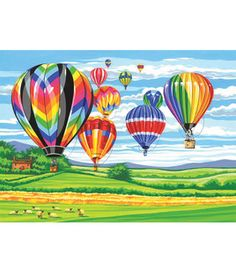 Hot Air Balloons paint-by-number kit by Christena Rheinhardt Air Ballon, Hot Air Balloon, Balloon Painting, Canvas Painting Landscape, Large Painting, Diy Painting, Paint By Number Kits, Drawings, Artwork