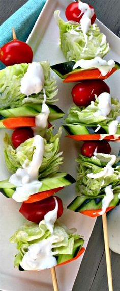*Garden Salad on a Stick*  Tip: Use a thick dressing like blue cheese to prevent drippy messes!  Yummy!