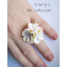 Flower ring in polymer clay
