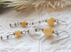 NWOT Handcrafted One of a Kind Sterling Silver Yellow and White Jasper Earrings…