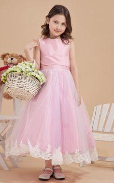 Tüll Prinzessin Blumenmädchenkleid aus elastischer Satin mit Juwel Ausschnitt