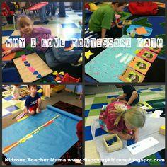 Hands on Math for preschool.  Why I love Montessori Math from Kidzone Teacher mama www.discoverykidzone.blogspot.com