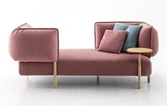 Spotted in Milan: sofa Love Me Tender by Patricia Urquiola for Moroso with detachable and movable back and arm rests and side tables.