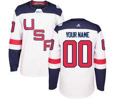 7a94bc7d02a adidas USA Hockey White World Cup of Hockey 2016 Premier Custom Jersey