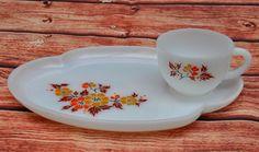 Federal Milk Glass Teacup Saucer Set Vintage Patio Snack Plate Dish Tray Floral