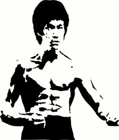 """Bruce Lee Universal Vinyl Cut Out Decal, Sticker in BLK - 11"""" by 13"""""""