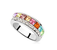 Platinum Plated Wide Band Ring, with Rhinestone and Multicolor Austria Crystal