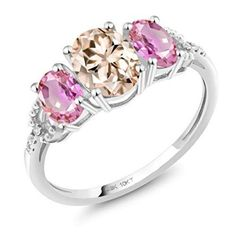 Gem Stone King 0.63 Ct Pink Created Sapphire White Diamond 18K Rose Gold Plated Silver Pendant