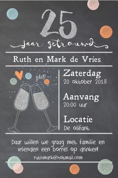 25 jaar getrouwd? Super feestelijke enkele uitnodiging. Met vrolijke confetti, en ruimte voor een eigen foto op de achterzijde. De kaart is geheel zelf aan te passen. Gratis verzending in Nederland en België.