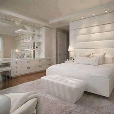 Bedroom : Stunning White Bedroom Design Ideas With Relaxing Atmosphere Remodeling White Bedrooms' White Bedroom Furniture Sets' White Bedroom Sets plus Bedrooms See related: Best master bedroom design ideas White Bedroom Set, White Bedroom Design, Small Master Bedroom, Farmhouse Master Bedroom, Bedroom Sets, Home Decor Bedroom, Bedroom Designs, Bedroom Wall, Cozy Bedroom