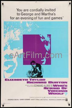 Who's Afraid of Virginia Woolf? 1966 27x41 Original U.S Movie Poster