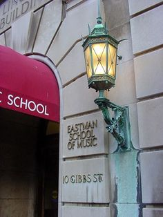 Eastman School of Music entrance with light - Gibbs St. Rochester NY