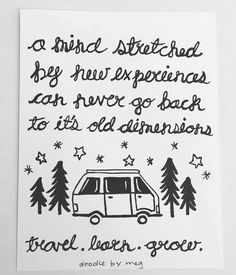 wanderlust quotecards, etsy seller shop instagram, camping, traveling, travel, camp, wander, nature, hiking, quote, inspiration, illustration, drawing, doodle, micron, ink, pen, pencil, sketch, art, card, gift, present, tree, mountain, compass, rv, tent, trip