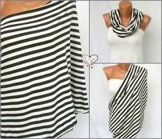 Gently Stripe Nursing Scarf Infinity Scarf Nursing cover up Breastfeeding Nursing Shawl  Eco mom
