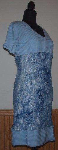 Light Blue Sweater and Lace Dress from The #Gypsy Cottage on #Artfire.com