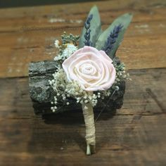 Dried Flower Boutonniere - Amore Collection with Blush Pink Accents
