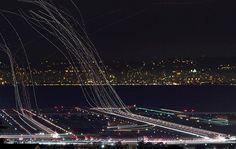 Tip: het fotograferen van lichtstrepen van vliegtuigen