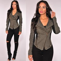 """""""Olive + Faux leather make the perfect combo.. Get the look at HotMiamiStyles.com - search:  Jacket: 702B Jeans: 831"""""""