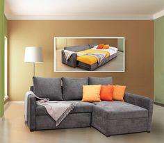 Busca imágenes de Salas de estilo moderno en gris: Sofá cama Belice tapizado en terciopelo Ducatti dark grey. Encuentra las mejores fotos para inspirarte y crea tu hogar perfecto. Room Paint Colors, Small Spaces, Sweet Home, New Homes, Couch, Living Room, Bed, Furniture, Design