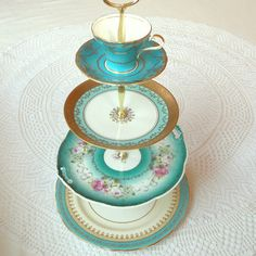 Aqua, Teal, Turquoise Tiffany Blue Large 4Tier Cupcake Stand Tower, Macaron Display, Cake Plate Tray, Mad Hatter Centerpiece with Cup Saucer or Tiered Alice in Wonderland Dessert Pedestal Platter of Vintage English China Dishes by High Tea For Alice
