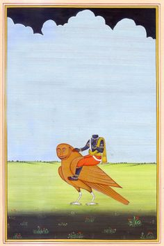 'Shani' (Saturn) by Jaipur painter Kailash Raj. Watercolor on paper, 4.8 x 7.3 in. via Exotic India