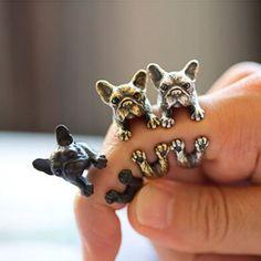 Ретро животных ручной французский бульдог кольцо обертывание кольцо мода античное золото старинные регулируемые кольца для женщинкупить в магазине Mixlot StoreнаAliExpress