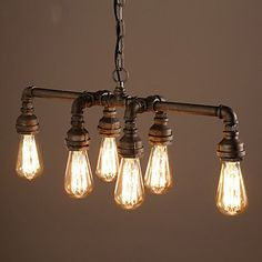 CA Edison Retro Loft Style Vintage Industrial Pendant Light Lamp Metal Water Pipe,Luminaire Lampara Colgantes Yellow