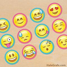 FREE Emoji cupcake topper printables