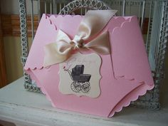 Baby Girl Diaper Die Cut Baby Shower Invitation - Other METALLIC Card Stock Colors are Available to Match your Theme