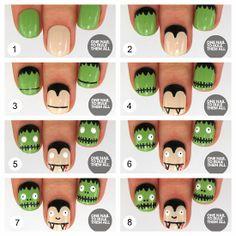 Uñas decoradas de Drácula y Frankenstein paso a paso - http://xn--decorandouas-jhb.com/unas-decoradas-de-dracula-y-frankenstein-paso-a-paso/