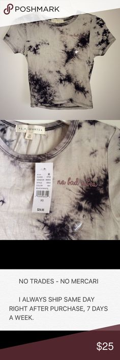 """L.A. Hearts Tie Dye Baby Tee Brand new with tags and is size XS. Can fit a small as well since it's pretty stretchy, but remember it's fitted on the body so it won't stretch too-too much. """"No bad vibes"""" on boob, very similar to the Brandy Melville Sammy tops but purchased from PacSun. NO TRADES LA Hearts Tops Tees - Short Sleeve"""