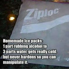 DIY Homemade Ice Packs - 1 part rubbing alcohol, 3 parts water.