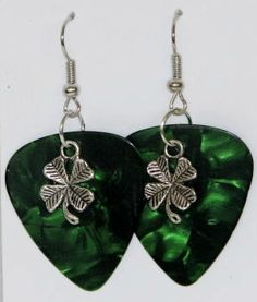 Guitar pick earrings - green with shamrock charm [er-pickgreenshamrock] - $5.50 : Glass Moose Cart, handcrafted glass, beads/supplies, jewelry, wood & metal art, signs