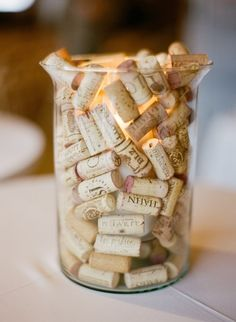 Make a centerpiece out of corks and candles: