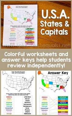 USA States and Capitals Worksheets ~ Color coded with answer keys for… 4th Grade Social Studies, Teaching Social Studies, Teaching History, Teaching Geography Elementary, History Education, Kids Education, Us Geography, 5th Grade Geography, States And Capitals