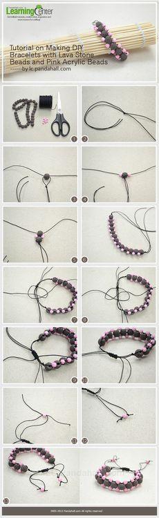 Jewelry Making Tutorial-Make Bracelets with Lava Stone Beads and Pink Acrylic Beads | PandaHall Beads Jewelry Blog