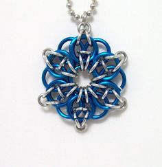 necklace, chainmaille, pendant, Celtic star, Celtic, blue, silver