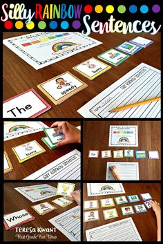 Use these rainbow sentences to teach parts of speech, reading fluency, writing fluency, and more. Your students will have so much fun creating sentences! 1st Grade Writing, Work On Writing, Sentence Writing, First Grade Reading, First Grade Classroom, Kindergarten Literacy, Writing Workshop, Teaching Writing, Literacy Activities