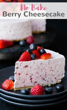 This no bake berry cheesecake is one of those that you will want to make for every summer party. It's full of strawberries and blueberries. #cheesecake #berry #nobake #dessert via @introvertbaker