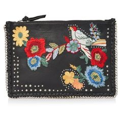 Women's Topshop Oto Embroidered Leather Crossbody Bag (934.850 IDR) ❤ liked on Polyvore featuring bags, handbags, shoulder bags, black, crossbody purses, chain shoulder bag, genuine leather handbags, leather crossbody and leather shoulder bag