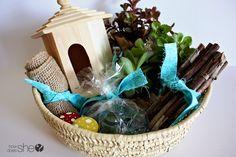 Fairy Garden Gift Basket  #howdoesshe #fairygarden #fairy #fairygardentgiftbasket #giftbasket  howdoesshe.com