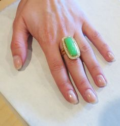 Large Seidengang Chrysoprase Diamond Gold Ring | From a unique collection of vintage more rings at http://www.1stdibs.com/jewelry/rings/more-rings/