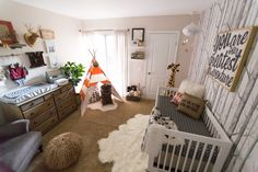 Oilo Design Challenge- Cast your vote! Nursery Design Charcoal Finn Orange TeePee White Natural Adventure