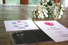 hand painted wedding invitation with flowers watercolor invites