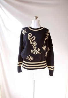 Vintage Designer Anchor & Compass Black and Gold Cotton Sweater