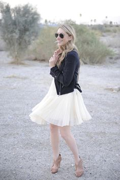 black leather jacket over a flowy dress. love. cupcakes and cashmere.