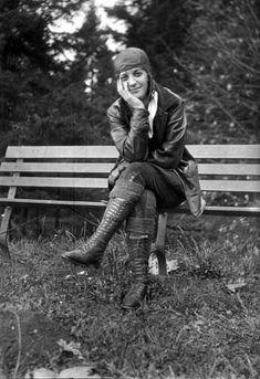 Motorcycle woman, circa 1928.